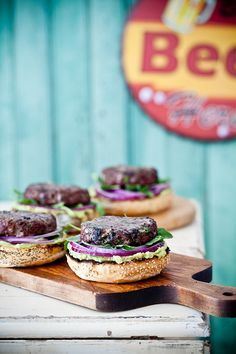 Guacamole Blue Cheese Burgers