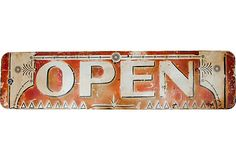 1930s Porcelain Open Sign