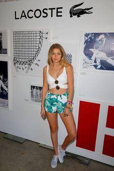 Gigi Hadid.. Bardot Carmen Bandeau, Cameo Nightlight Shorts, and Lacoste Rene Platforms..... - Celebrity Fashion Trends
