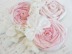 Gorgeous fabric rose brooches
