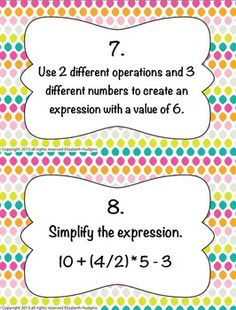 Order of Operations Stations, $