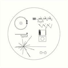 'The Voyager Golden Record' Art Print by leakeg Voyager Golden Record, Large Prints, Framed Prints, Circle Game, Record Art, Cool Tats, Thing 1, Carl Sagan, Line Tattoos