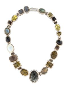 Sterling silver Michael Dawkins necklace with labrodorite cabochons, citrine, smoky quartz, moonstone , mother of pearl, marble and onyx stations and push-slide clasp closure.