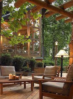 HOTEL CABAÑAS Arquitetura E Design, Interior Exterior, Interior Design, Interior Ideas, Outdoor Living Rooms, Outdoor Areas, Indoor Outdoor, Outdoor Benches, Garden Benches