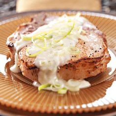 Pork Chops with Blue Cheese Sauce Recipe from Taste of Home -- shared by Kathy Specht of Clinton, Montana  #quick_dinner