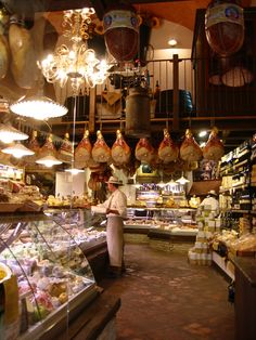 Bologna, Italy (grew up in NYC and it is deli heaven!! Italian, Jewish, German--- salami, halavah, poppy seeds in barrels....fresh churned butter, cheeses from the entire universe....sigh. #Expo2015 #Milan #WorldsFair