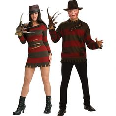 Freddy or Freddy and Jason Scary Couples Costumes, Boy Costumes, Couple Halloween Costumes, Scary Halloween, Cosplay Costumes, Halloween Ideas, Freddy Krueger Costume, Holiday Fashion, Holiday Style