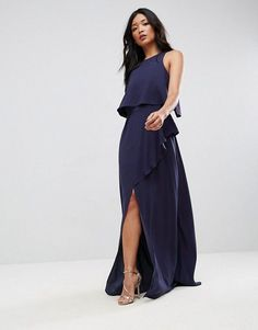 6956b77a89cb Crop Top Thigh Split Maxi Dress