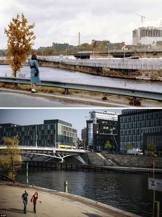 A river runs through it: A woman looks out across the Spree river at the Berlin Wall in 1980, with construction work taking place at the Charite hospital in background. Today a bridge links the two sides of the river, which has a number of modern buildings along its banks.