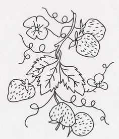 black white strawberry leaves sketch - Google Search