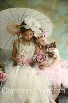 Flower girl dresses:  Vintage Fairy Dress by CarmenCreation on Etsy, $175.00