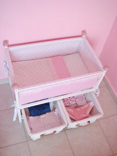 DIY doll basinet/crib/bed with basket storage under it - size of the bed: 60 cm (L) × 35 cm (W) × 50 cm (H)