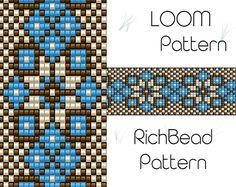 Beaded loom pattern, PDF seed bead bracelet, DIY beading, Instant download, Bookmark blue flower pattern, Digital square stitch jewelry