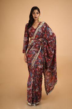 Saksham & Neharicka | Red Angrakha Kurta Set | INDIASPOPUP.COM Printed Sarees, Printed Blouse, Anarkali Gown, Cotton Silk, Indian Wear, Sequins, Gowns, Floral Prints, Coat