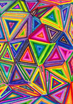 When I was a kid, I used to draw things exactly like this.Loved the bright colors and geometric shapes. Triangle Art, Triangle Drawing, Triangle Pattern, Triangle Shape, 5th Grade Art, Ecole Art, Math Art, Pastel Watercolor, Shape Art