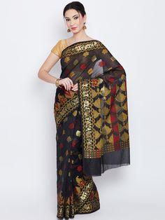 Buy Bunkar Black Patterned Banarasi Saree -  - Apparel for Women from Bunkar at Rs. 1500