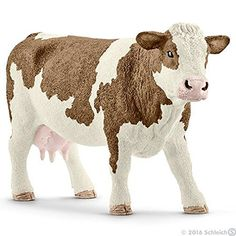 Schleich North America Simmental Cow Toy Figure by Varios. Hand painted. Highly detailed. Made of high quality plastic.