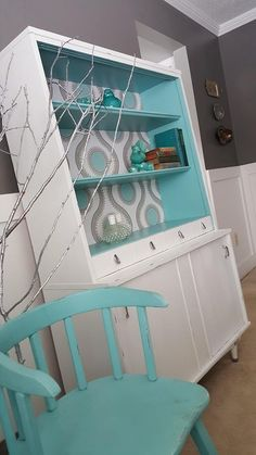 Mid-century modern hutch painted with Pure Earth Paint white jade/ozone
