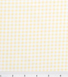 Nursery Baby Basic- Gingham Yellow # 10550754 reg. 5.99 43'' Wide. 100% Cotton. Machine Wash Cool Delicate