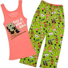 Now I can love sushi in bed too! :D How I Roll Sushi Pajama Set - Pajamas - Women