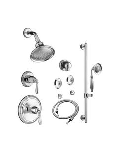 Buy the Kohler Polished Chrome Direct. Shop for the Kohler Polished Chrome Devonshire Complete Pressure Balancing Shower System with Rain Shower Head and Multi Function Handshower with Valves Included and save. Bathroom Shower Heads, Shower Faucet, Bathrooms, Bathroom Ideas, Bathtub, Shower Set, Rain Shower, Master Shower, Master Bathroom