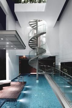 Indoor Pool with Spiral Staircase