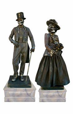 Skeleton Couple Living Statues by TEN31 wemakepretend.com