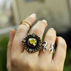Belle Starr Accessories - Arrow Ring, Round Swarovski Crystal Ring, and Upright Antler Ring. Made in Mexico.