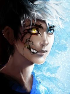 "So, I saw this and thought 'Jack Frost'. Then I really saw the dark side of his face, and I thought 'Is this supposed to show Jack in an alternate world where, instead of shooting Sandy, Pitch got Jack? And instead of ""dying"" Jack's mind was taken over by Pitch, and Pitch used Jack's immense power to destroy all the Guardians and cover the world with fear."