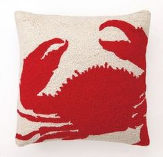crab coastal decor throw pillow