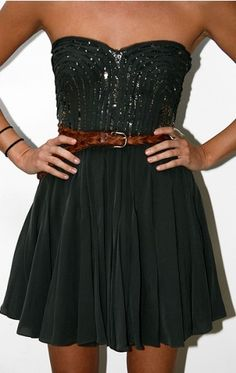 evening black dress with casual brown belt    (party dress)