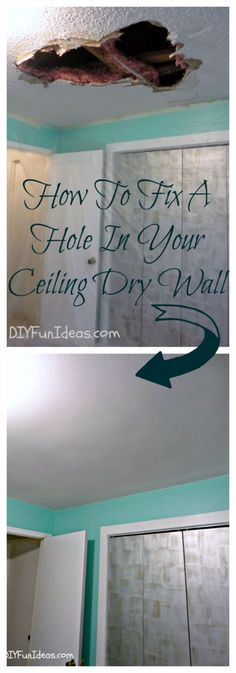 Easy Home Repair Hacks - Fix A Hole In Your Ceiling Dry Wall - Quick Ways To Fix Your Home With Cheap and Fast DIY Projects - Step by step Tutorials, Good Ideas for Renovating, Simple Tips and Tricks for Home Improvement on A Budget - Save Money and Time on Small Bathrooms, Kitchen, Bathroom, House and Household http://diyjoy.com/best-home-repair-hacks
