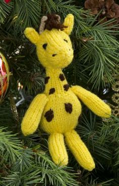 Georgie Giraffe Ornament Free Knitting Pattern from Red Heart Yarns