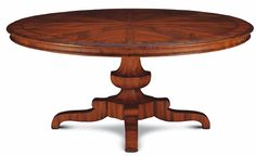 "PALAFOXIANA DINING TABLE 180 No: 528.861.02  70-7/8""Dia x 30-1/8""H  Hand-carved pedestal dining table in primavera solids.  Also available as Palafoxiana Expanding Dining Table 180 No: 528.862.02 98-1/2""W x 70-7/8""D x 30-1/8""H when expanded"