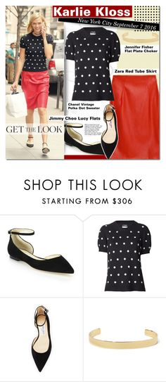 """""""Karlie Kloss New York City"""" by barbarela11 ❤ liked on Polyvore featuring Jimmy Choo, Chanel and Jennifer Fisher"""