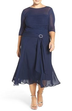 Sangria Embellished Ruched Bodice A-Line Midi Dress (Plus Size) available at #Nordstrom