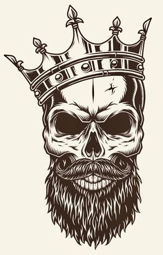 Illustration about Illustration of black and white skull in crown with beard isolated on white background. Illustration of magic, banner, evil - 92486212 Crown Tattoo Men, Crown Tattoo Design, Skull Tattoo Design, Skull Design, Skull Tattoos, Sleeve Tattoos, Tattoo Designs, Shirt Designs, Sugar Skull Tattoos