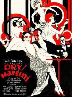 Dry MARTINI. Vintage Flapper LLUSTRATION. Art Deco Movie Poster Download. Movie…