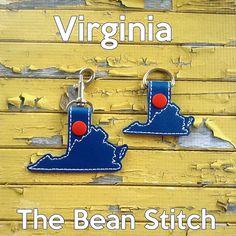 Virginia - Includes TWO(2) Sizes!  #thebeanstitch #beanstitchers #TBS #ith #inthehoop #machineembroidery #felties #feltie #embroidery #digitaldownload #keyfobs #bagtag #diy #snaptab #snapbean #handmade #vinyl #felt #craft #etsy #shopsmall #embroiderygift #travel #everyday #design #multipurpose #state #Virginia #keychain Kam Snaps, Glitter Vinyl, Tbs, Key Fobs, Mardi Gras, Machine Embroidery Designs, Free Design, Virginia, Geek Stuff