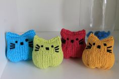 New Handmade Knitted Cat Pink Green Yellow Blue Bright Catnip Pouch Stuffed…