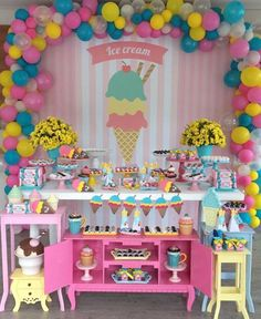 27 Ideas Birthday Party Themes Ice Cream For 2019 Ice Cream Theme, Ice Cream Party, First Birthday Parties, Birthday Party Decorations, Candy Themed Party, Popsicle Party, Donut Party, Maya, Ideas Party