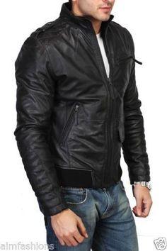 a6368414c7724 Nueva chaqueta para hombre de cuero 100% piel de cordero genuina suave  ajustada para ciclismo