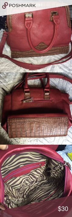 Red and cheetah handbag (cross body) Never been used. Doesn't have a brand Bags Crossbody Bags