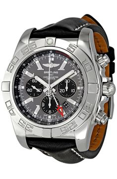e2c9fdda65a1 Best watches for men Breitling Men s Chronomat GMT Grey Dial Watch The  Breitling wristwatch features a 24 millimeters calfskin bracelet.