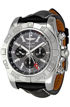 bf13f06e8a3b Breitling Chronomat GMT Dial Negro de cuero Negro para los hombres A Moda  Para Caballero