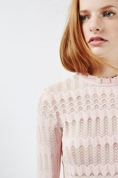 Sheer Stitch Frill Top