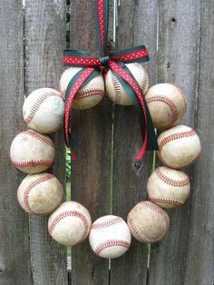 Happy Holidays Baseball Love Wreath