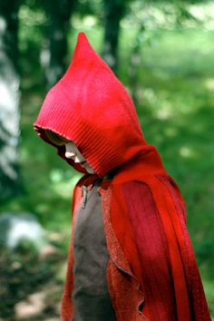 THIS ITEM SOLD but what a wonderway way to upcycle: little red riding hood out of old wool sweaters