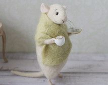 Felted Mouse, Mouse With a Cup, Needle Felted Mouse, Cute Felted Mouse, Eco Toy