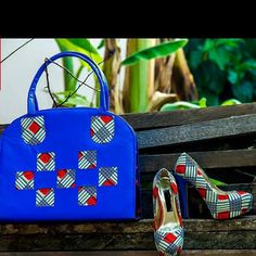 African Wax Print Shoes and Purse. African by EJAfricanProducts